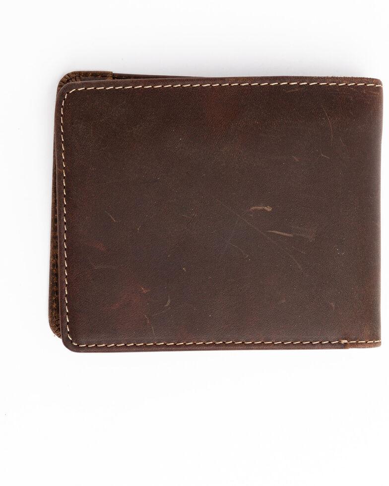 Cody James Men's Brown Blue Stitched Bi-Fold Leather Wallet , Brown, hi-res