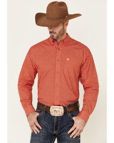 Ariat Men's Bishop Geo Print Long Sleeve Button-Down Western Shirt , Red, hi-res