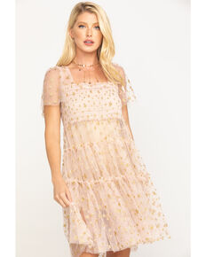 Free People Women's Gold Starbright Tunic Dress, Gold, hi-res