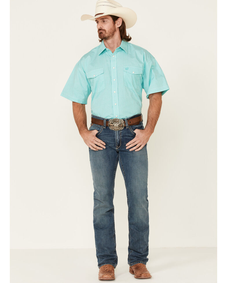 Panhandle Select Men's Emerald Geo Print Short Sleeve Snap Western Shirt , Green, hi-res