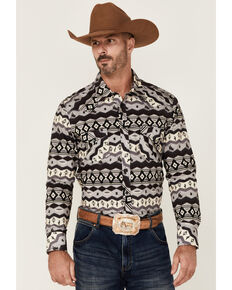 Dale Brisby Men's Charocal Aztec Stripe Long Sleeve Snap Western Shirt , Charcoal, hi-res