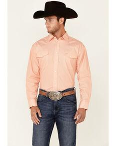 Panhandle Select Men's Orange Geo Print Long Sleeve Snap Western Shirt , Orange, hi-res