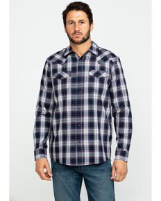 Cody James Men's Plainsman Heathered Plaid Long Sleeve Western Shirt - Tall , Grey, hi-res