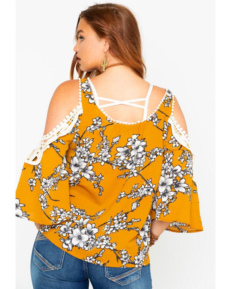 9d0e3d501ab7db Luna Chix Women s Floral Print Cold Shoulder Crochet Top - Country ...