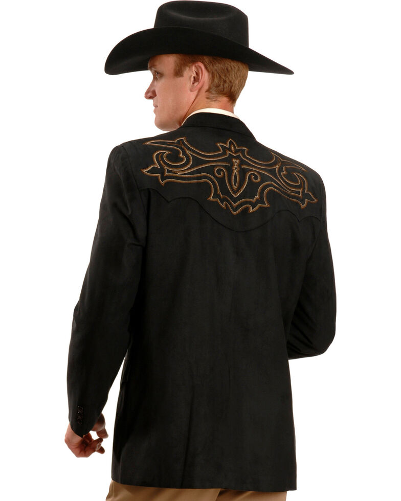 Circle S Men's Embroidered Micro-Suede Sport Coat , Black, hi-res
