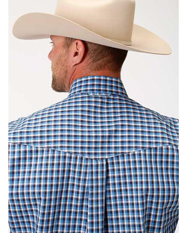 Amarillo Men's Americana Check Plaid Long Sleeve Western Shirt , Blue, hi-res