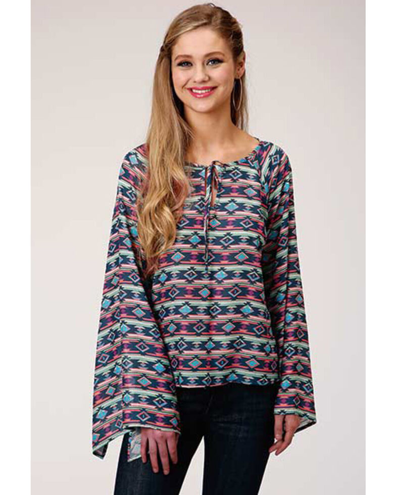 Five Star Women's Blue Aztec Peasant Blouse , Navy, hi-res