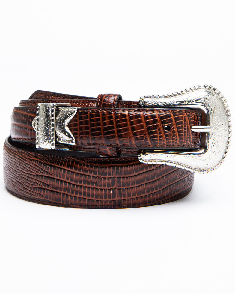 Lyntone Men's Lizard Print Western Belt, Brown, hi-res