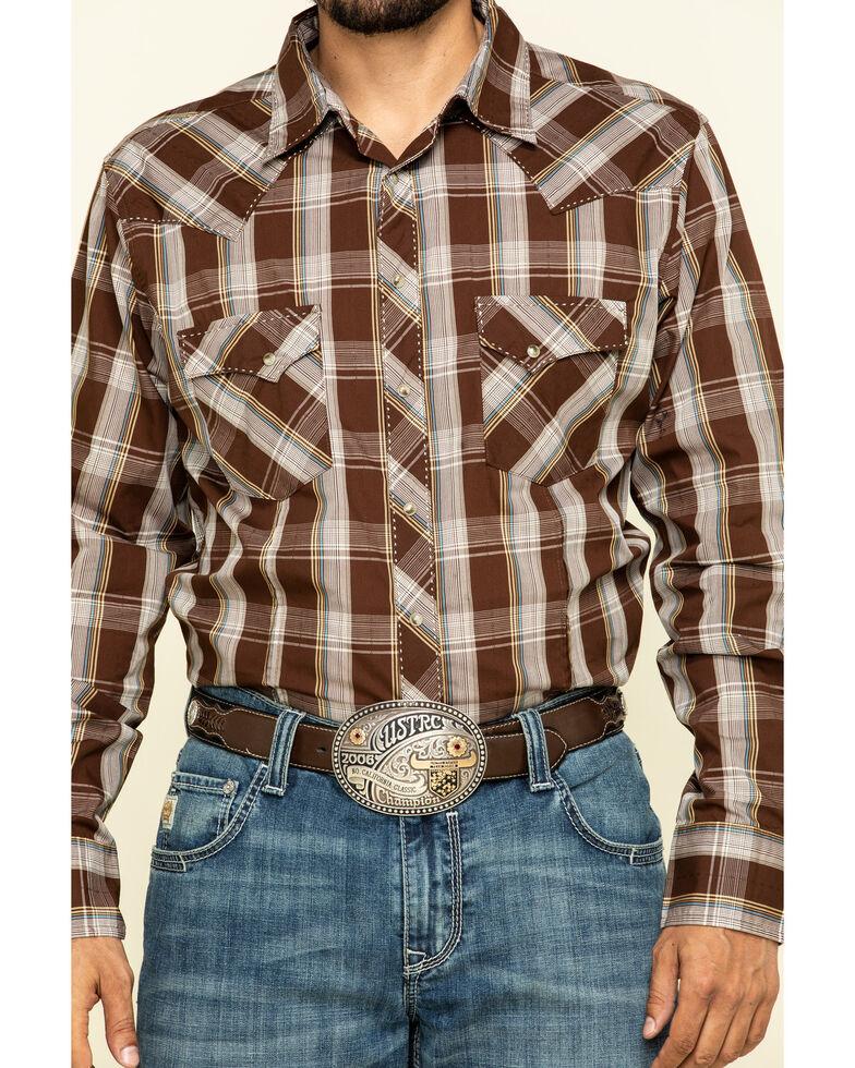 Wrangler Men's Fashion Snap Brown Large Plaid Long Sleeve Western Shirt , Brown, hi-res