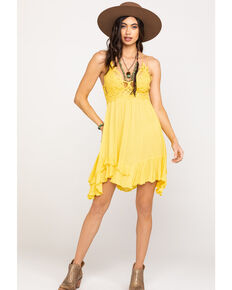 Free People Women's Adella Slip Dress, Yellow, hi-res