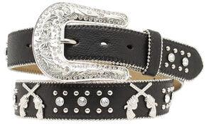 Blazin Roxx Cross Pistols Concho Studded Belt, Black, hi-res