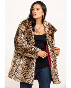 White Crow Women's Tan Leopard Chloe Faux Fur Jacket, Tan, hi-res