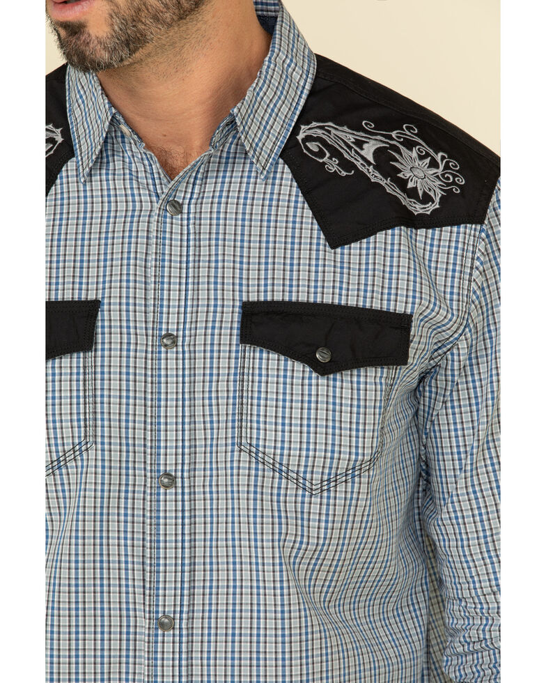 Moonshine Spirit Men's World Tour Small Plaid Long Sleeve Western Shirt , Grey, hi-res
