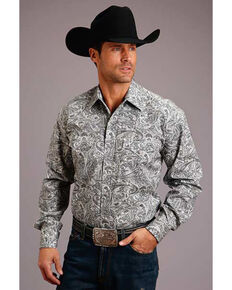 Stetson Men's Grey Saddle Paisley Print Long Sleeve Western Shirt , Grey, hi-res