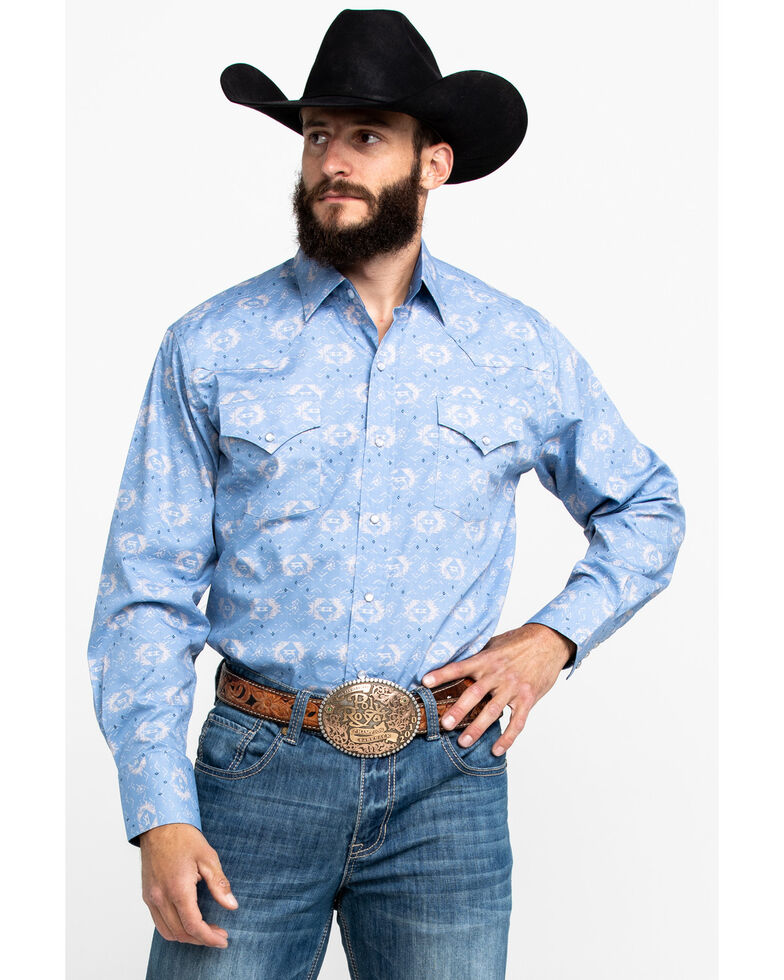 Ely Cattleman Men's Assorted Aztec Print Long Sleeve Western Shirt , Multi, hi-res