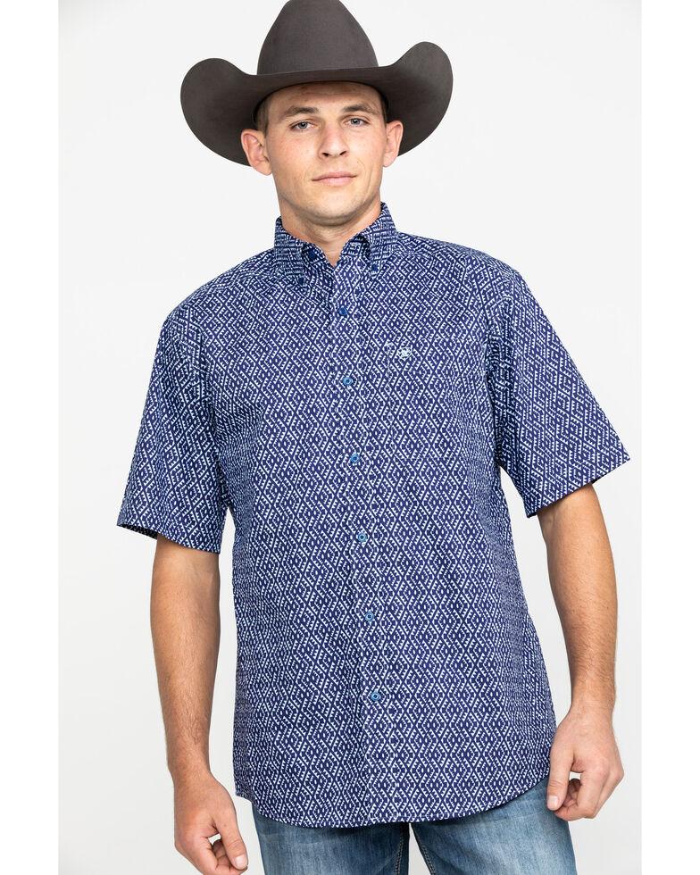 Ariat Men's Octavio Aztec Print Short Sleeve Western Shirt , Blue, hi-res