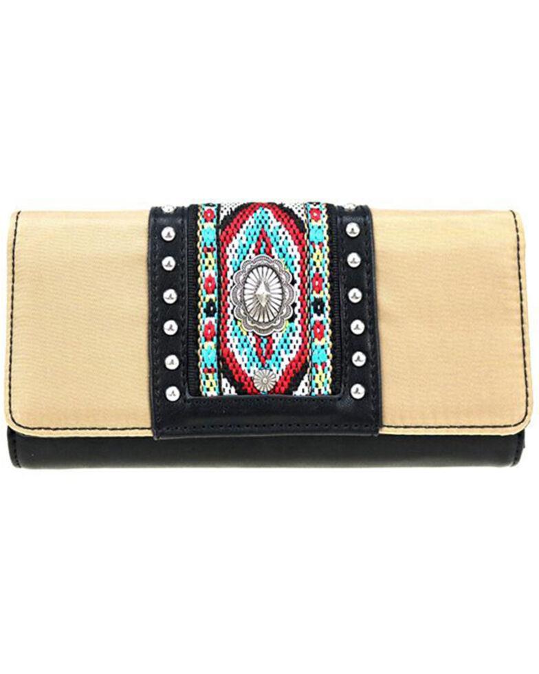 Montana West Women's Aztec Beaded Wallet, Beige/khaki, hi-res