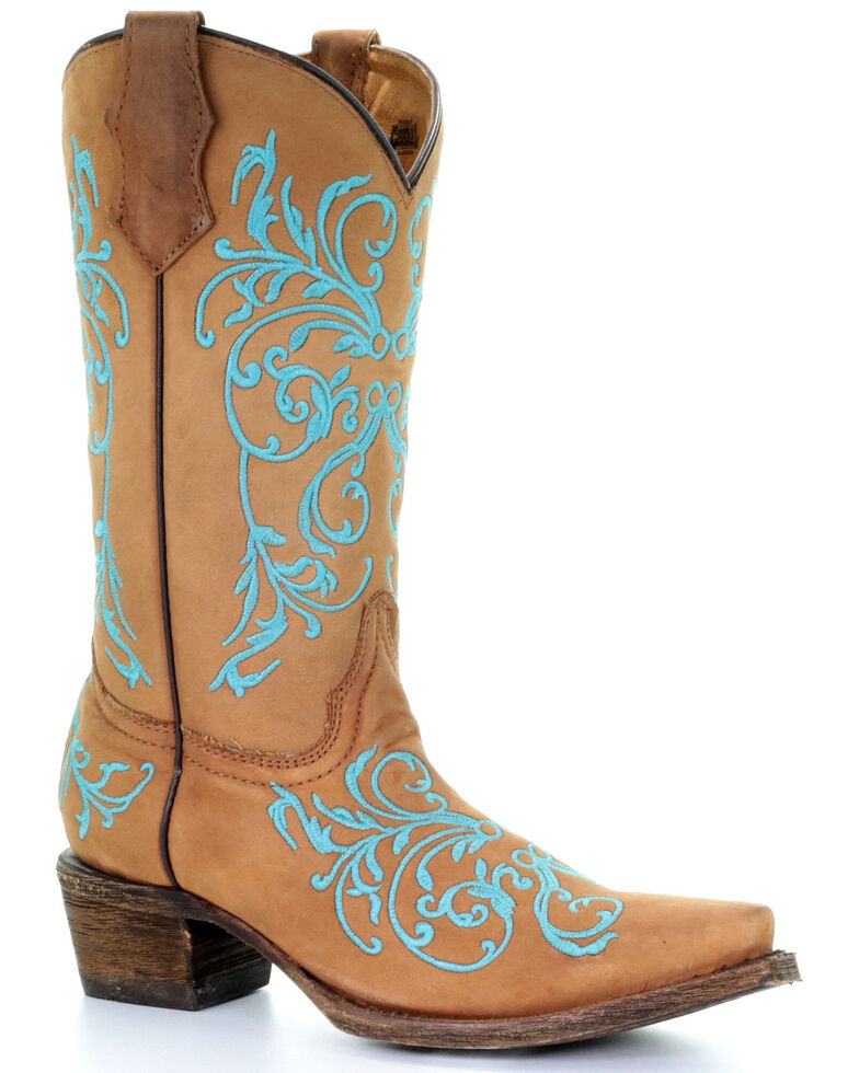 Corral Youth Girls' Myra Western Boots - Snip Toe, Taupe, hi-res