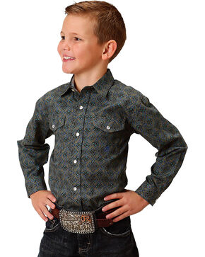 Roper Boys' Green Vintage Diamond Medallion Print Shirt , Green, hi-res