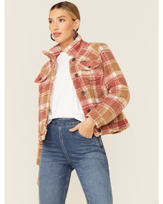 Wrangler Women's Red & Brown Plaid Button-Down Sherpa Jacket , Red, hi-res