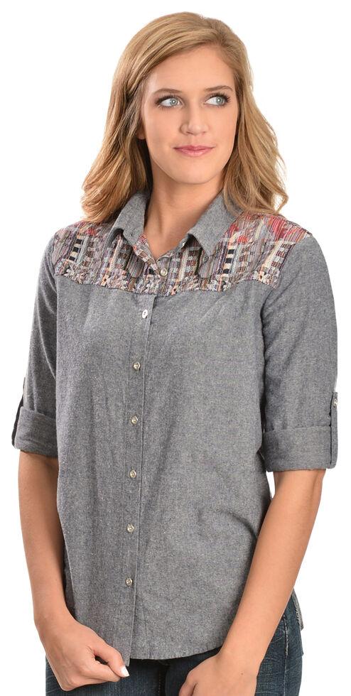 White Crow Women's Aztec Print Long Sleeve Shirt, Blue, hi-res