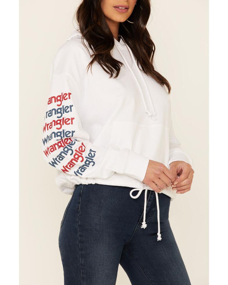 Wrangler Women's White Arm Logo Drawstring Hoodie , White, hi-res