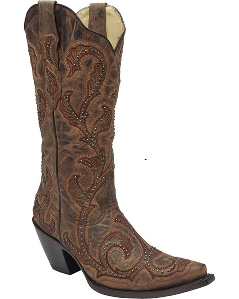 Corral Women's Studded Embroidered Cowgirl Boots - Snip Toe, Brown, hi-res