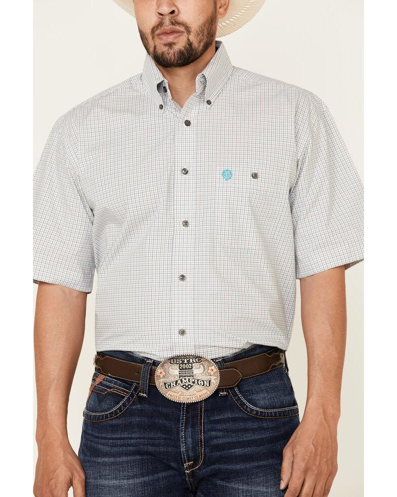 George Strait By Wrangler Turquoise Small Plaid Short Sleeve Button-Down Western Shirt - Tall , Turquoise, hi-res