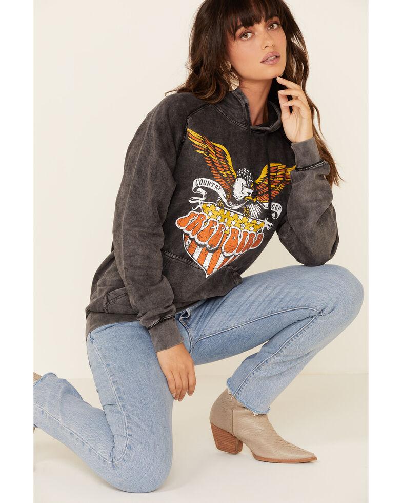 Country Deep Women's Grey Vintage Free Bird Graphic Hooded Sweatshirt, Black, hi-res