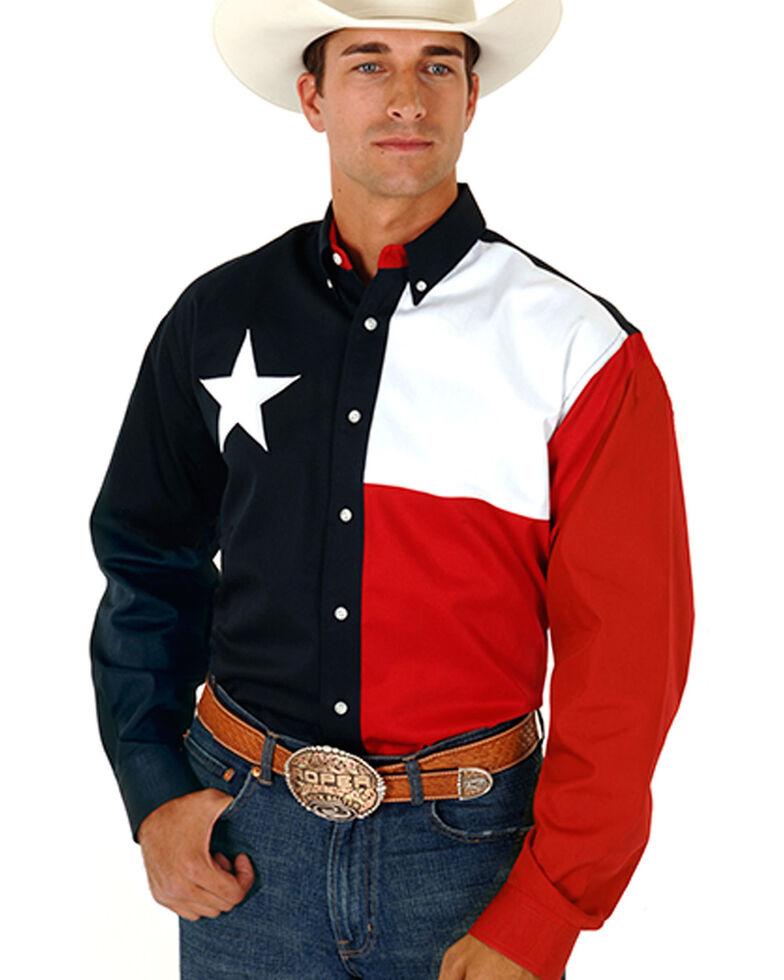 Roper Texas Flag Shirt, Navy, hi-res