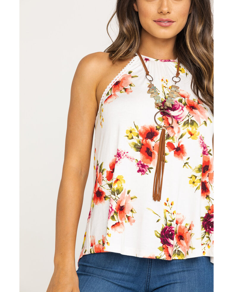Red Label by Panhandle Women's Floral Halter Top, Ivory, hi-res
