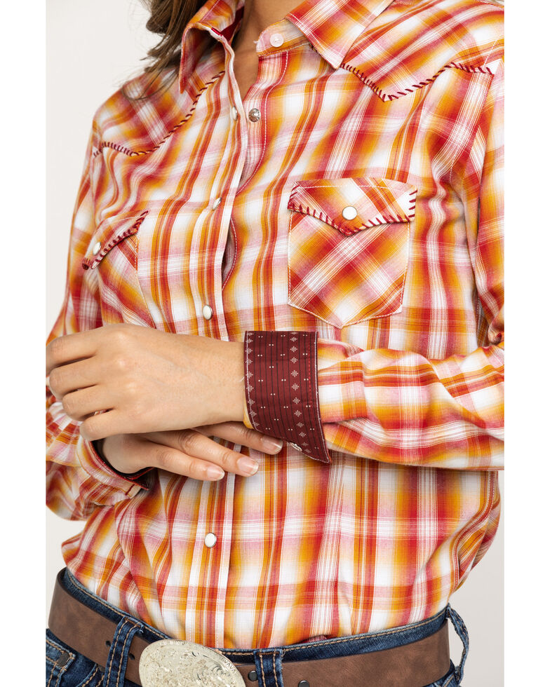 Rough Stock by Panhandle Women's Rust Whip Long Sleeve Western Shirt, Rust Copper, hi-res