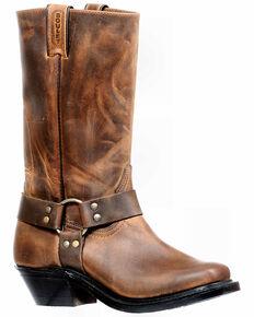 Boulet Women's Brown Moto Western Boots - Narrow Square Toe, Dark Brown, hi-res