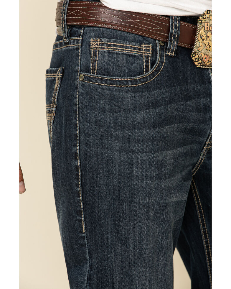 Rock & Roll Denim Men's Dark Vintage Double Barrel Stretch Relaxed Bootcut Jeans , Indigo, hi-res