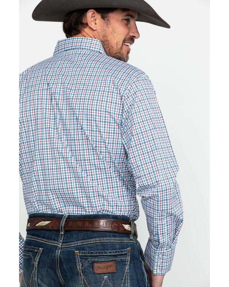 Wrangler Men's Wrinkle Resist Mini Check Plaid Long Sleeve Western Shirt - Big & Tall , Blue/red, hi-res