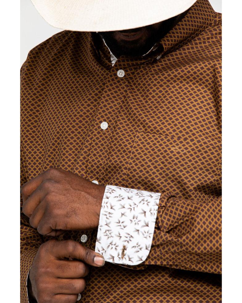 Resistol Men's Bradenton Geo Print Long Sleeve Western Shirt , Maroon, hi-res