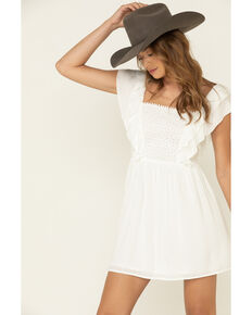 Others Follow Women's Eyelet Acacia Mini Dress, Ivory, hi-res