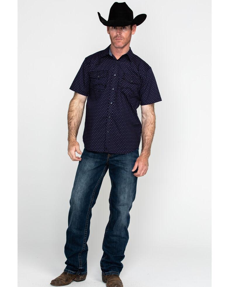 Cody James Men's Scalene Geo Print Short Sleeve Western Shirt , Navy, hi-res