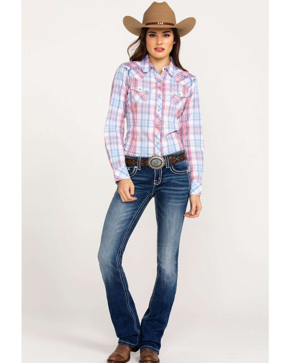 Ariat Women's REAL Lovely Plaid Long Sleeve Western Shirt , Multi, hi-res