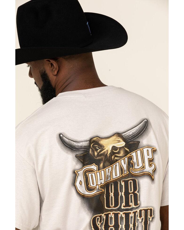 """Cowboy Up Men's """"Cowboy Up or Shut Up"""" Tee, Grey, hi-res"""