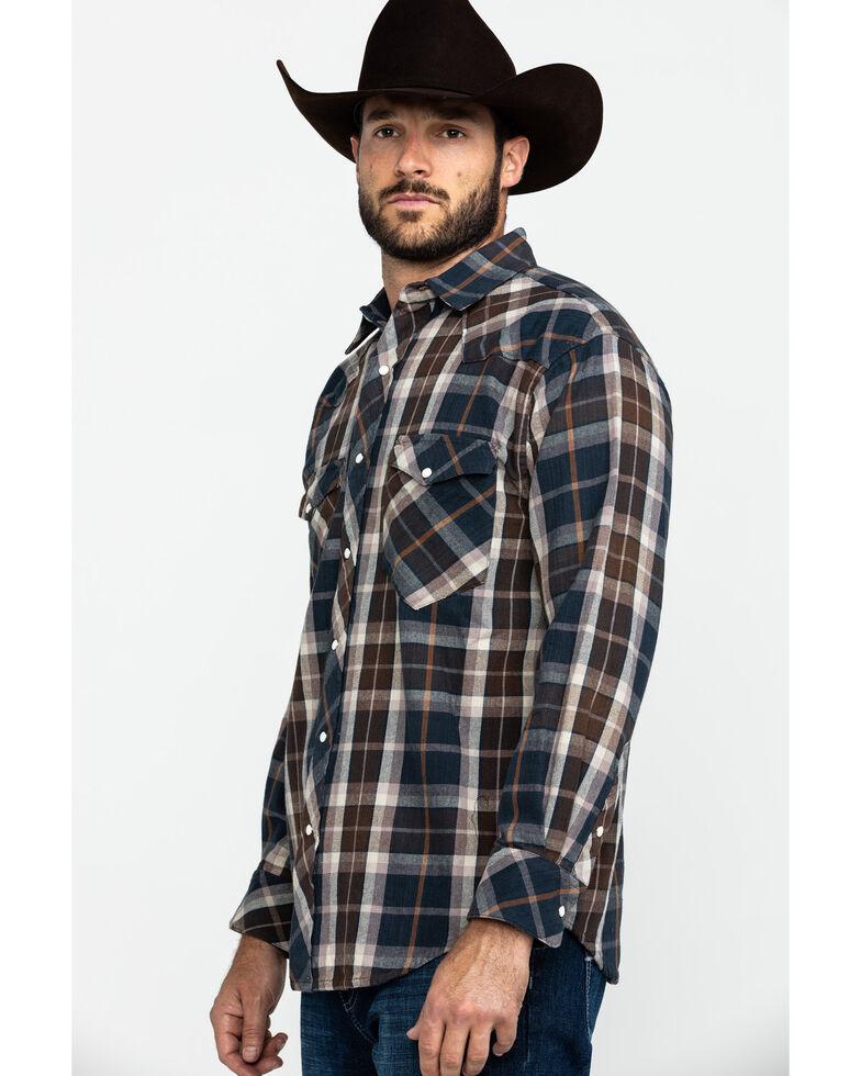 Resistol Men's Halbert Large Plaid Long Sleeve Western Shirt , Navy, hi-res