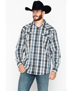 Moonshine Spirit Men's Hound Dog Plaid Long Sleeve Western Shirt , Blue, hi-res