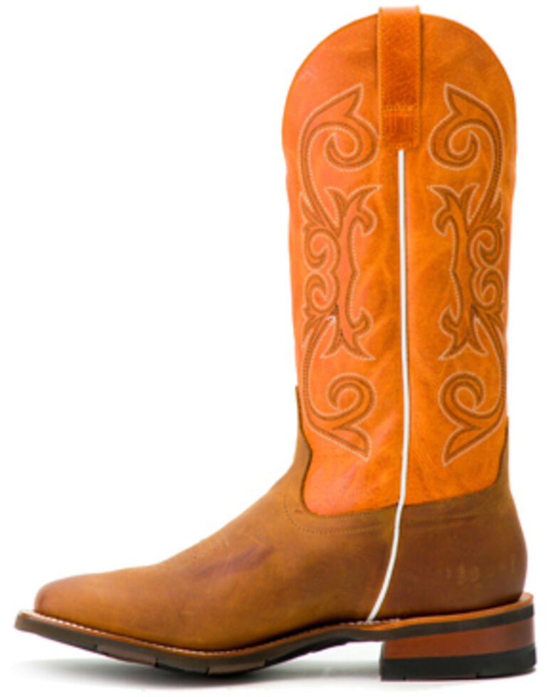 Horse Power Men's Barking Iron Western Boots - Wide Square Toe, Brown, hi-res