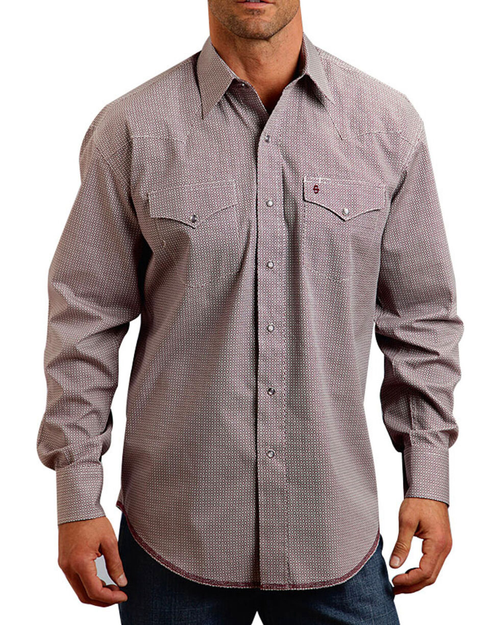 Stetson Men's Geo Wine Long Sleeve Snap Shirt, Wine, hi-res
