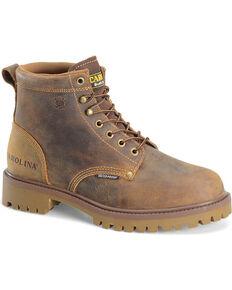 "Carolina Men's 6"" Waterproof Work Boots - Steel Toe , Brown, hi-res"