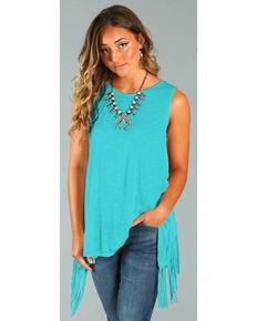 b2bb4700e20ccc Wrangler Rock 47® Womens Turquoise Sleeveless Fringe Top , Turquoise, hi-res