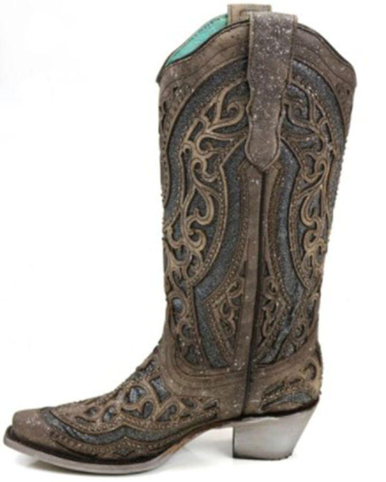 Corral Women's Grey Glitter Inlay Western Boots - Snip Toe, Brown, hi-res