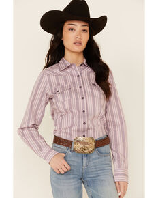 Cinch Women's Pink Geo Stripe Long Sleeve Snap Western Shirt , Pink, hi-res