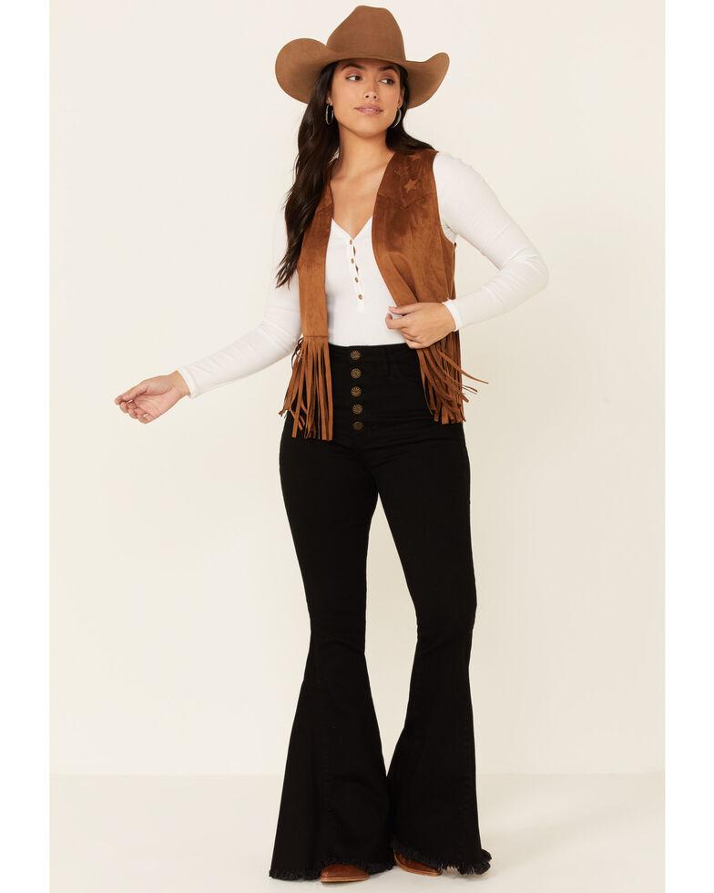 Rock & Roll Denim Women's Camel Faux Suede Star Patch Fringe Vest , Camel, hi-res