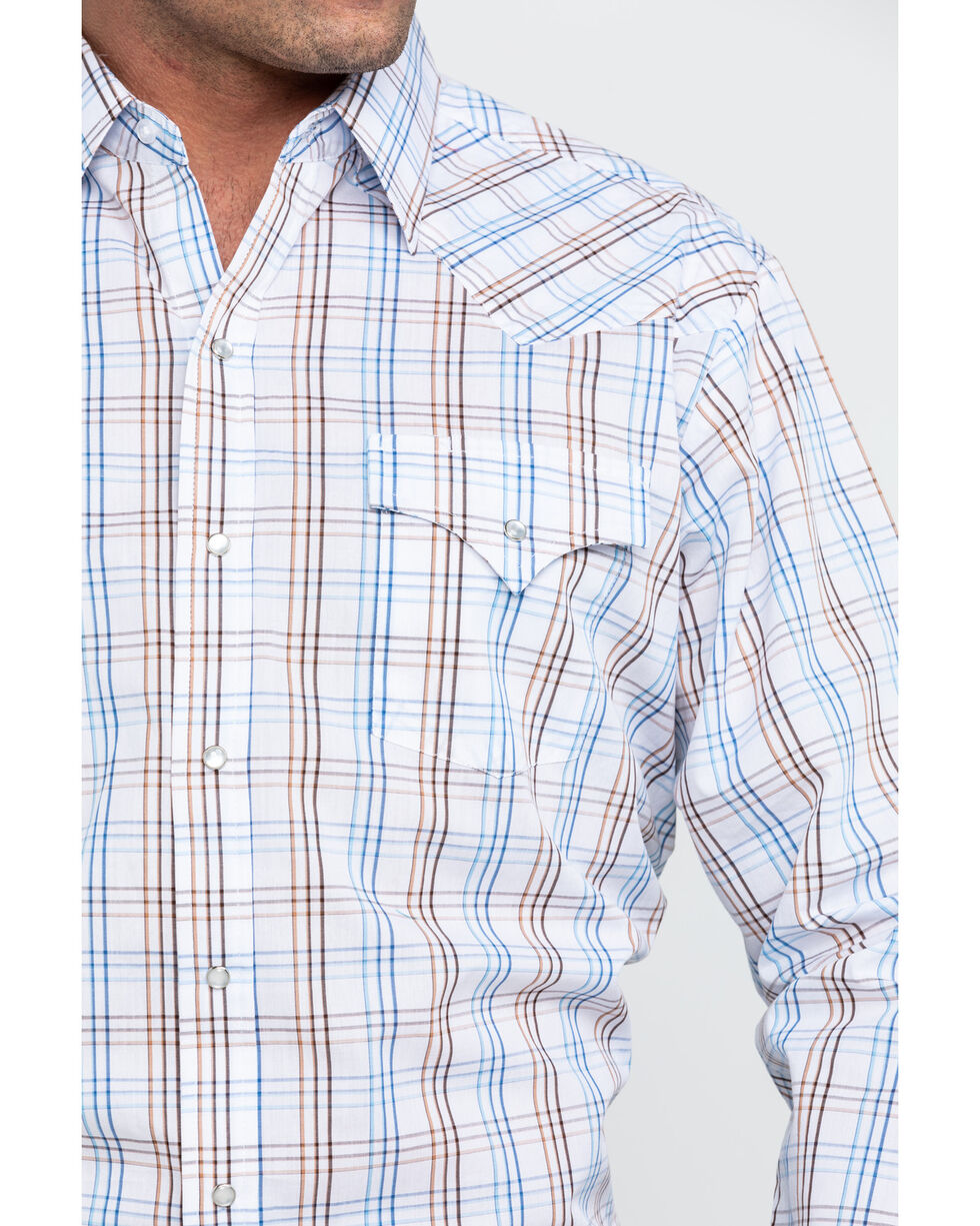 Ely Cattleman Men's White Large Plaid Long Sleeve Western Shirt, White, hi-res